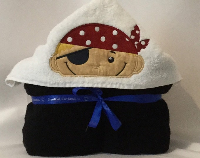 """Pirate Hooded Towel for Kids, Black Towel, Approximately 30"""" x 52""""; Blonde Hair, Bath Hoodie; Bath Wrap; FREE SHIPPING - IPFG-000102"""