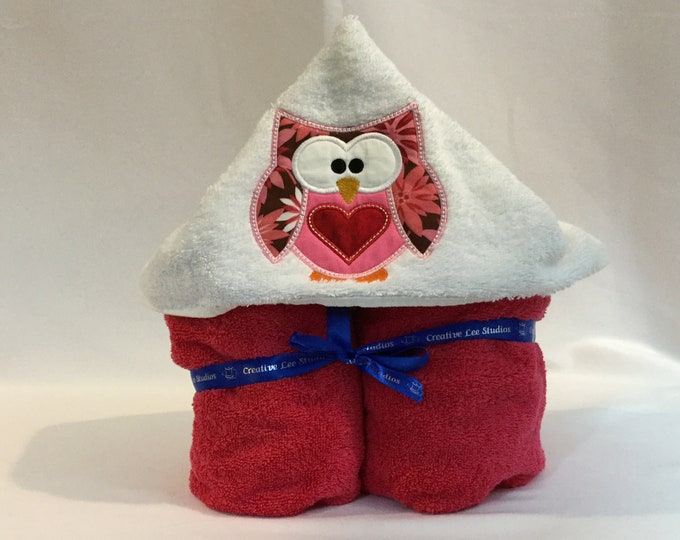 Pink Love Owl Hooded Towel for Kids, FREE SHIPPING, Full Size Bath Towel, Hoodie; Bath Wrap - IPFG-000306