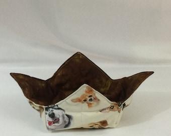 "Dog Selfie Microwave Bowl Cozy; Medium 6"", Salad Bowl Size, Reversible, Free Shipping, Hot Bowl Pad-IPFG-000346"