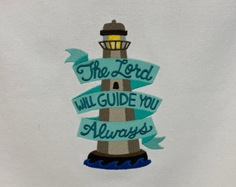 """Kitchen Towel - The Lord Will Guide You Always Lighthouse, 28"""" x 20"""", FREE SHIPPING, 100% Cotton Towel, Back Hanging Tab-IPFG-000516"""