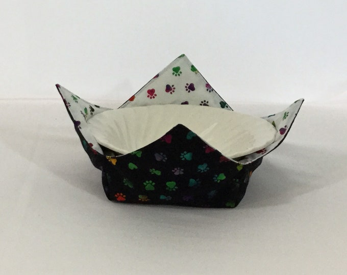 "Dog Paws Microwave Bowl Cozy - Medium 6"" Bottom Diameter; Salad Bowl, Rainbow Paws, Reversible - IPFG-000225"