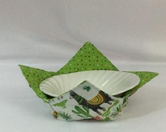 """Llama Microwave Bowl Cozy; Medium 6"""", Salad Bowl Size, Reversible, Free Shipping, Hot Bowl Pad-IPFG-000345"""