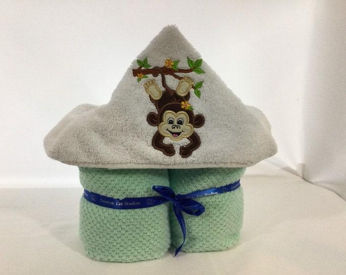 Girl Monkey Hooded Towel for Kids, FREE SHIPPING, Full Size Bath Towel, Hoodie; Bath Wrap - IPFG-000429