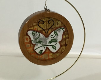 3-D Butterfly Silhouette Ornament; Charm Included, Cherry Stained Wood Frame; Silhouette Ornament - IPFG-000390