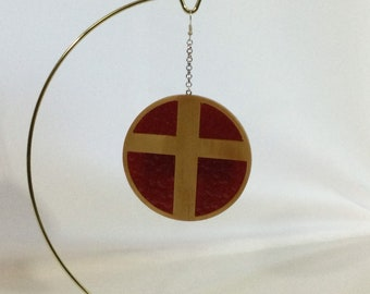 Wood Cross with Stained Glass Ornament, Hand Crafted Cross, Red Cathedral Hammered Stained Glass IPFG-000473