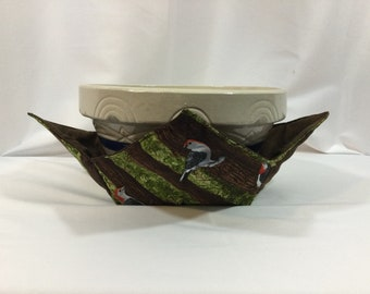 """Red Headed Woodpecker Microwave Bowl Cozy; XLARGE 12"""" Bottom Diameter; X-Large Bowl Hot Bowl Pad; Casserole Cozy, Reversible - IPFG-000520"""