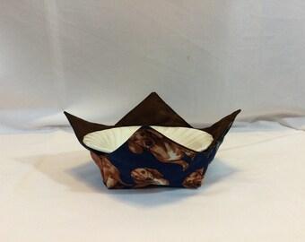 "Dachshund Microwave Bowl Cozy-Medium 6"" Bottom Diameter; Dog Hot Bowl Pad; Reversible - IPFG-000475"