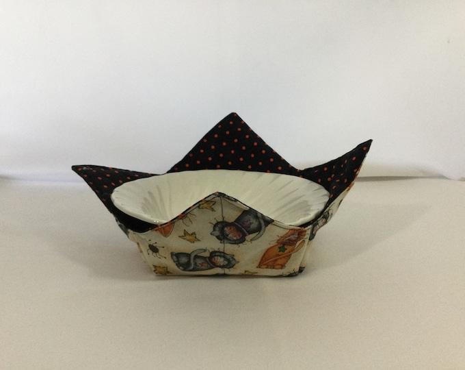 "Spooky Cats Microwave Bowl Cozy; Medium 6"" Bottom Diameter, Free Shipping, Hot Bowl Pad-IPFG-000463"