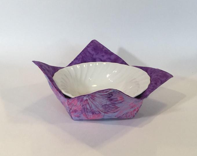"Purple Petunia Flowers Microwave Bowl Cozy Medium 6"", Salad Bowl Size, Insulated w/Wrap & Zap; Reversible - IPFG-000087"