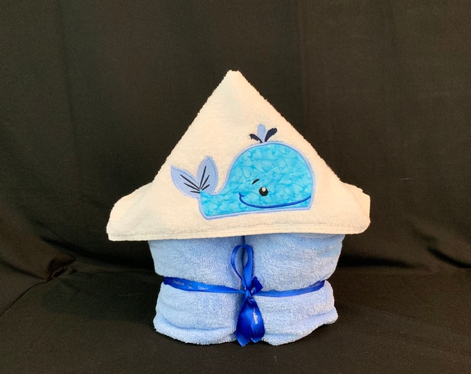 Whale Hooded Towel for Kids, FREE SHIPPING, Full Size Plush Bath Towel; Whale Bath Wrap - IPFG-000047
