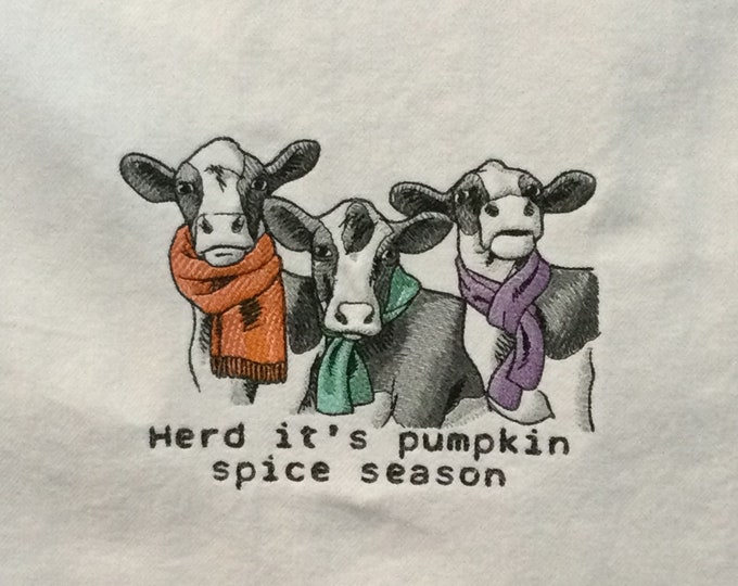 Kitchen Towel - Cows - Pumpkin Spice Cows - Funny Image and Saying Towel, 100% Cotton Towel, Back Hanging Tab - IPFG-000489