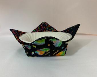 Cats and Stars Galore Microwave Bowl Cozy; Medium, Salad Bowl Size, Reversible, Free Shipping, Hot Bowl Pad-IPFG-000446