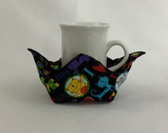 """Crazy Cat Love Microwave Bowl Cozy-Small; 4"""" Bottom Diameter; Coffee Cup Size; Small Bowl Size; Reversible - IPFG-000136"""