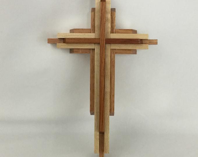 "Wooden Wall Cross; Christian Gift; Crucifix Cross; Hand Crafted Cross; 5-1/2"" x  9""; Religious Cross - IPFG-000159"
