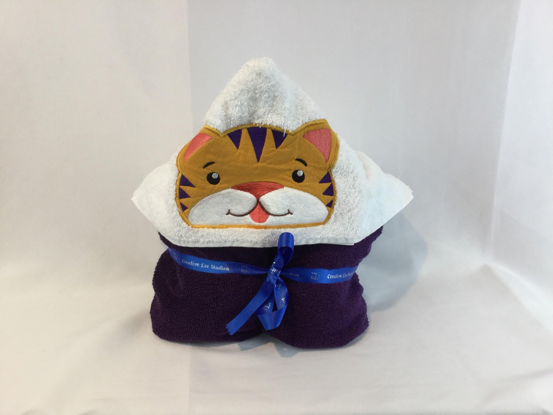 Hooded Towel Lsu Tiger Applique Plush Purple Towel 28 X 50