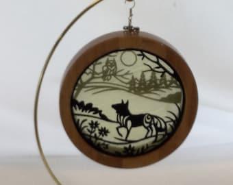 3-D Fox Silhouette Ornament; Charm, Organza Art; Framed Ornament; Embroidered Organza - IPFG-000120