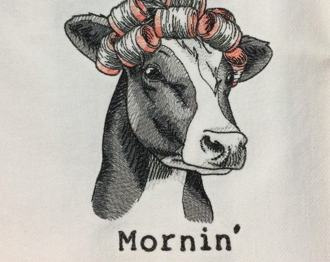 "Kitchen Towel - Cow - Mornin', 28"" x 20"", FREE SHIPPING, Funny Saying Towel, 100% Cotton Towel, Back Hanging Tab - IPFG-000472"