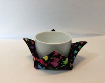 "Rainbow Unicorns Microwave Bowl Cozy; Small 4"" Bowl Size, Coffee Cozy, Reversible, Free Shipping, Hot Bowl Pad-IPFG-000511"