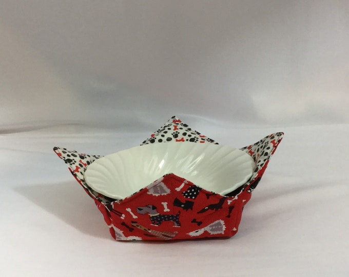 """Tossed Dogs Microwave Bowl Cozy; Medium 6"""", Salad Bowl Size, Reversible, Free Shipping, Hot Bowl Pad-IPFG-000361"""