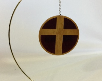 Wood Cross with Stained Glass Ornament, Hand Crafted Cross, Red Stained Glass - IPFG-000474