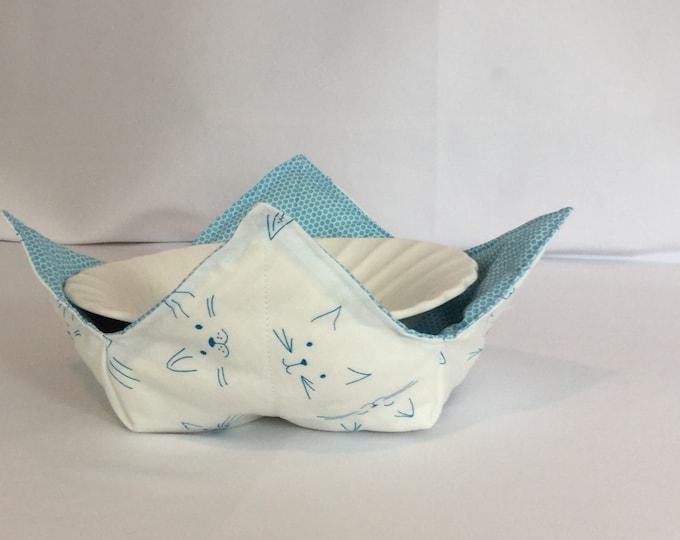 "Blue Cat Face Microwave Bowl Cozy-Medium 6"" Bottom Diameter; Cat Cozy; Leftover Hot Bowl Pad; Ice Cream Bowl Pad, Reversible - IPFG-000200"