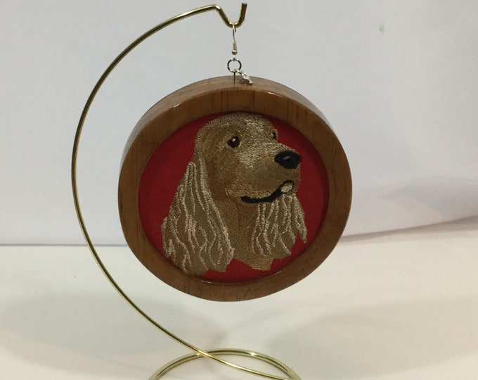 American Cocker Spaniel Head Ornament; My Kid's Have 4 Feet, on Red Faux Suede Fabric with a Cherry Stain Wood Frame, Charm-IPFG-000379