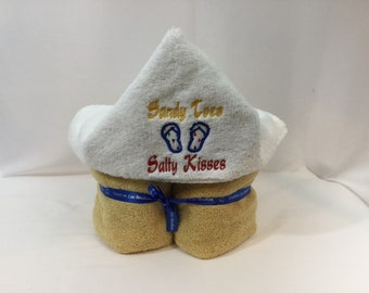 Sandy Toes and Salty Kisses Hooded Towel for Kids, FREE SHIPPING, Full Size Plush Bath Towel; Bath Wrap - IPFG-000268