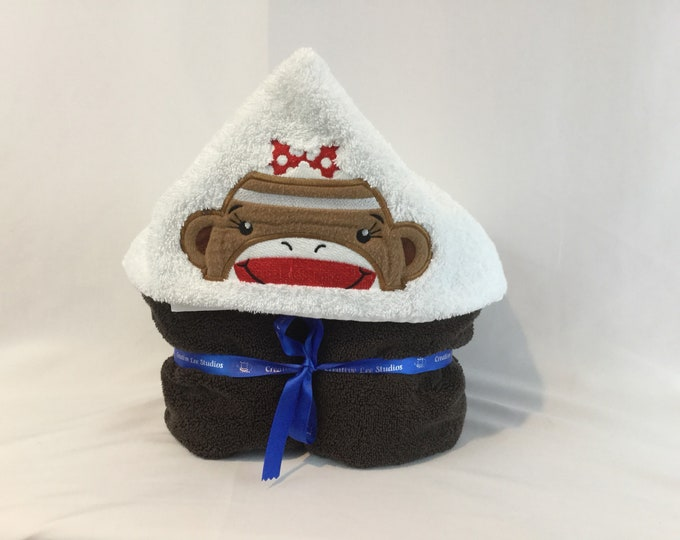 Girl Sock Monkey Hooded Towel for Kids, FREE SHIPPING, Full Size Plush Bath Towel; Bath Wrap - IPFG-000144