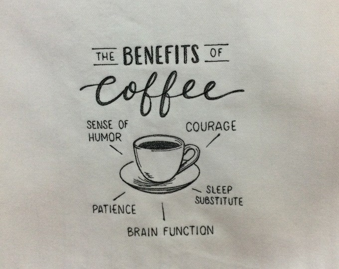 """Kitchen Towel - Benefits of Coffee, 28"""" x 20"""" - FREE SHIPPING, Back Hanging Tab-IPFG-000442"""
