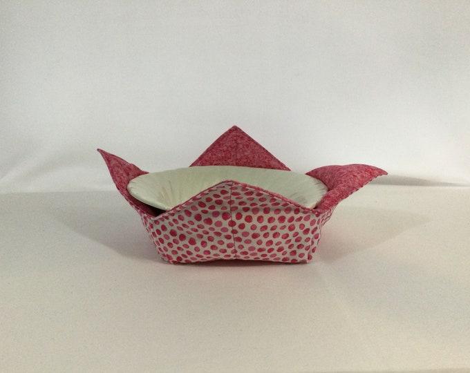 "Pink Spots Microwave Bowl Cozy, Medium 6"", Salad Bowl Size, Hot Bowl Cozy, Free Shipping, Hot Bowl Pad Wrap & Zap; Reversible - IPFG-000447"