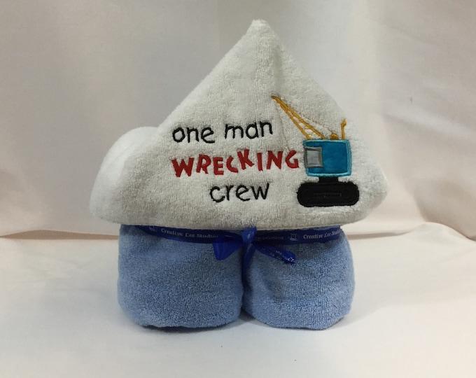 One Man Wrecking Crew Hooded Towel for Kids, FREE SHIPPING, Full Size Bath Towel, Plush Towel; Kid's Bath Wrap - IPFG-000413