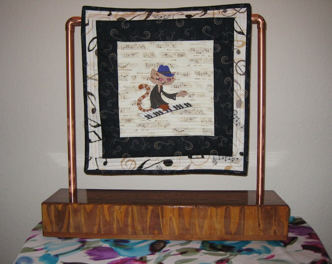Jazz Cat at the Piano Quilt Block and the Hand Crafted Table Stand Display, Wood and Copper Stand, FREE SHIPPING - IPFG-000037