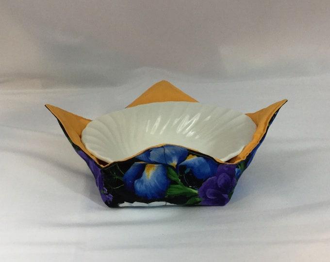 Flower Garden Microwave Bowl Cozy; Medium, Salad Bowl Size, Reversible, Free Shipping, Hot Bowl Pad-IPFG-000367