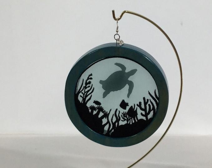 3-D Sea Life & Sea Turtle Silhouette Ornament; Charm Included, Turtle Organza Ornament; Shadowbox Ornament - IPFG-000232