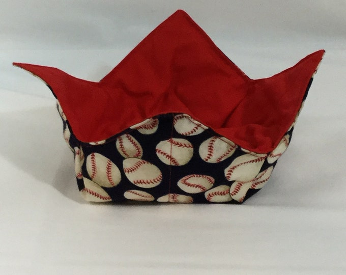 "Baseball Microwave Bowl Cozy  6"" Medium; Baseball Lover, Hot Bowl Pad; Ice Cream Cozy, College Dorm; Lunch Cozy,  Reversible - IPFG-000182"