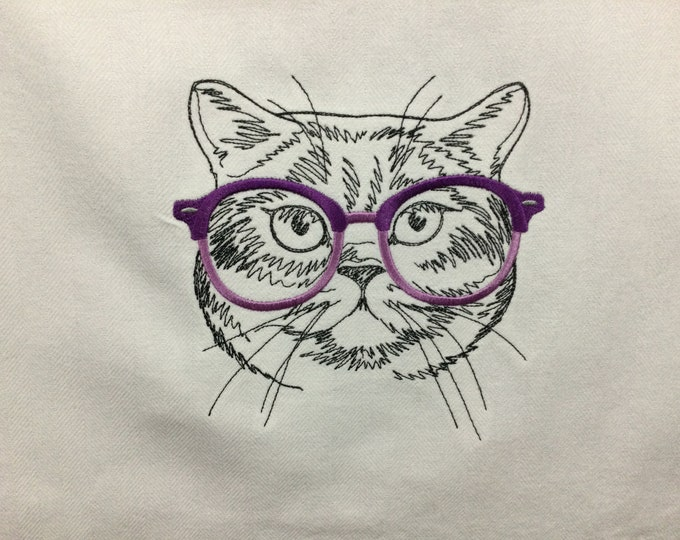 Kitchen Towel - Cat - Seeing Eye Cat - Funny Image and Saying Towel, 100% Cotton Towel, Back Hanging Tab - IPFG-000499