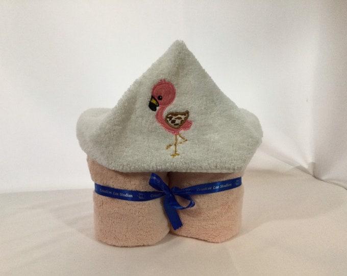 Flamingo Hooded Towel for Kids, Full Size Bath Towel, Flamingo, Bath Wrap; FREE SHIPPING - IPFG-000262