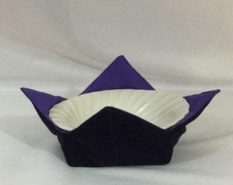 "Deep Purple Flowers Microwave Bowl Cozy; Medium 6"", Salad Bowl Size, Reversible, Free Shipping, Hot Bowl Pad-IPFG-000347"