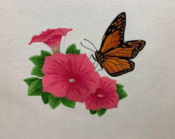 Kitchen Towel - Garden Monarch Butterfly and Petunia, Beautiful Image, FREE SHIPPING, 100% Cotton Towel, Back Hanging Tab - IPFG-000514
