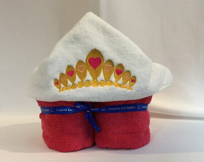 Princess Crown Hooded Towel for Kids, FREE SHIPPING, Full Size Bath Towel, Bath Wrap - IPFG-000263