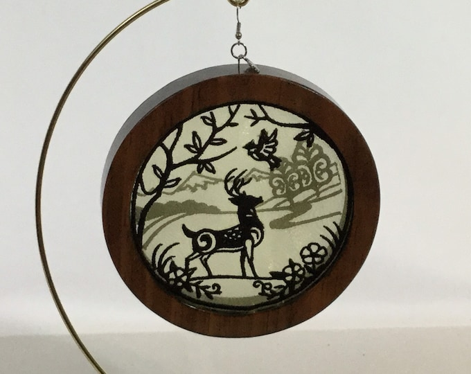 3-D Stag Silhouette Ornament, including a Charm; Silhouette Ornament; Red Mahogany Stained Wood - IPFG-000314