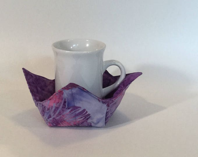 """Purple Petunia Flowers Microwave Bowl Cozy-Small 4"""" Bottom Diameter; Coffee Cup Size; Small Bowl Size; Reversible IPFG-000086"""