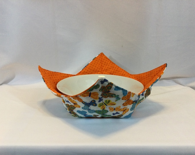 """Butterfly Profusion Microwave Bowl Cozy; XLARGE 10"""" Bottom Diameter; Leftover Hot Bowl Pad; Casserole Bowl Cozy, Reversible - IPFG-000477"""
