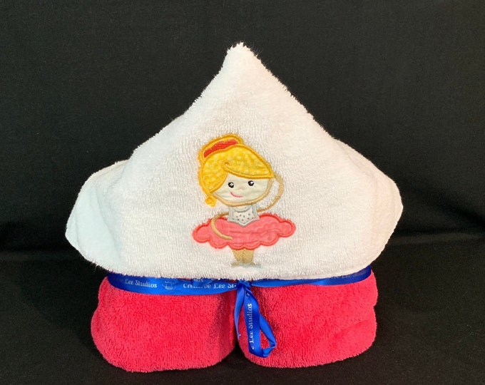 Princess Ballerina Hooded Towel for Kids, FREE SHIPPING, Full Size Plush Bath Towel; Bath Wrap - IPFG-000265