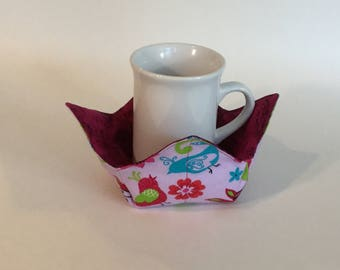 """Fancy Birds Microwave Bowl Cozy-Small - 4"""" Bottom Diameter; Ice Cream Bowl Pad, Coffee Cup Size; Small Bowl Size; Reversible - IPFG-000088"""