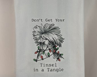 """Kitchen Towel - Chicken - Tinsel In A Tangle, 28 x20"""", FREE SHIPPING, Multi-Colored Strip, Funny Saying Towel, Back Hanging Tab-IPFG-000510"""