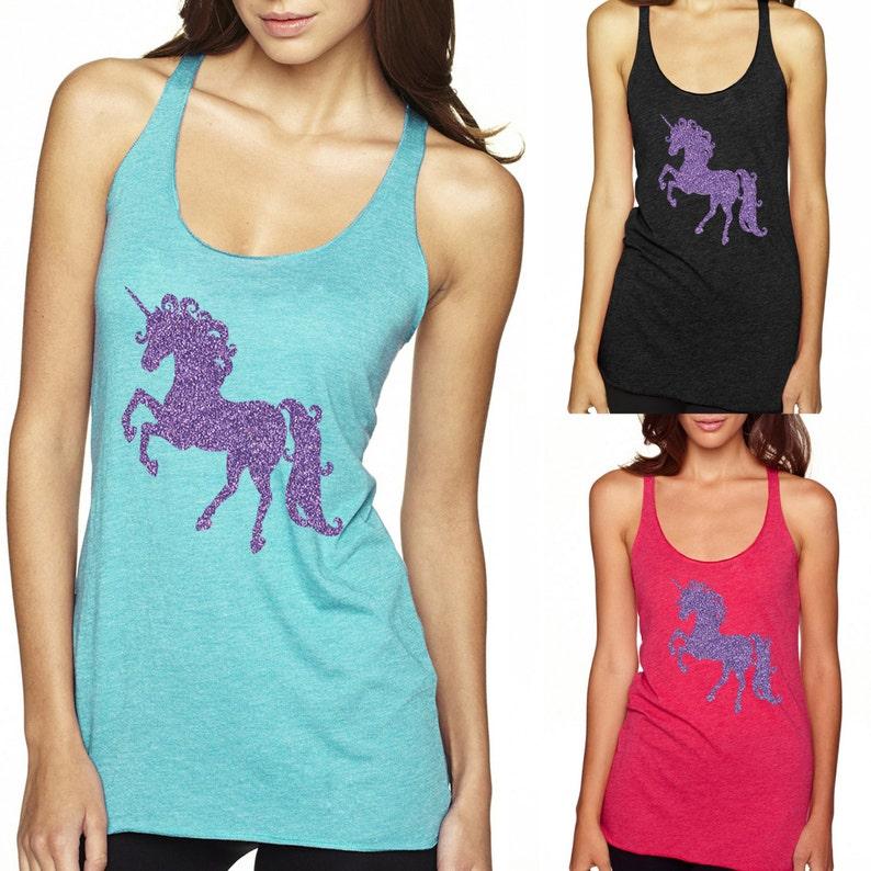 7126a4d3 Sparkly unicorn purple glitter shirt tank top | Etsy