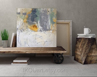 Contemporary home decor, Original abstract painting, gallery wrapped canvas, abstract, yellow flower painting, 24x24x1.5 inches IKOUar
