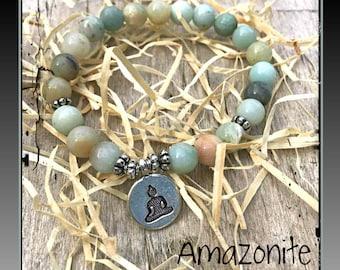Amazonite, Buddha bracelet, Meditation bracelet, yoga bracelet, Healing crystals, Reiki, Spiritual jewelry, Tibetan Bracelet, Zen