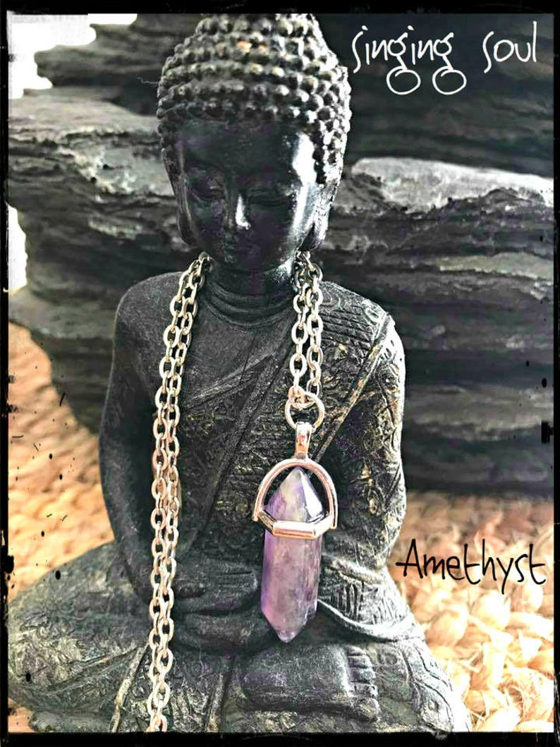 raw amethyst spiritual jewelry moon necklace amethyst crescent moon zen jewelry amethyst pendant Amethyst necklace healing crystals